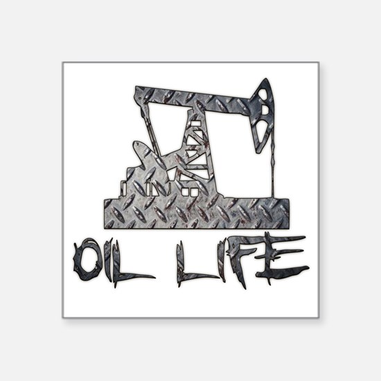 Diamond Plate Oil Life Pumpjack Sticker