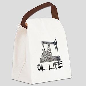 Diamond Plate Oil Life Pumpjack Canvas Lunch Bag
