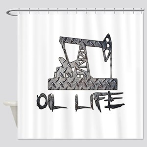 Diamond Plate Oil Life Pumpjack Shower Curtain