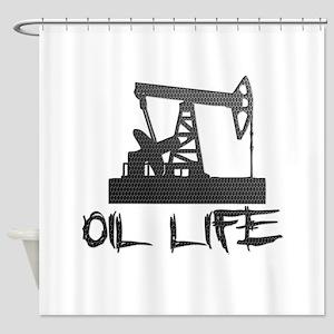 Honeycomb Oil Life Pumpjack Shower Curtain