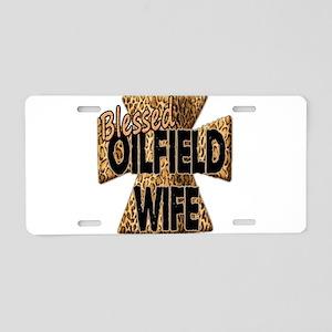 Leopard Print Blessed Oilfield Wife Cross Aluminum