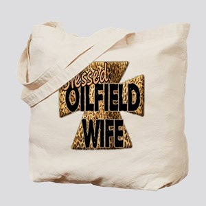 Leopard Print Blessed Oilfield Wife Cross Tote Bag