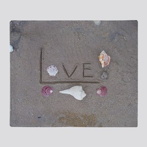 Love in the Sand with Shells Throw Blanket