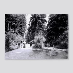 Cyclists in Stanley Park 5'x7'Area Rug