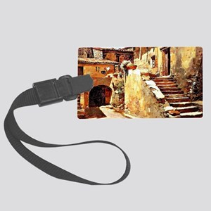 Italian Courtyard, Painting by F Large Luggage Tag