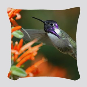 Hummingbird Woven Throw Pillow