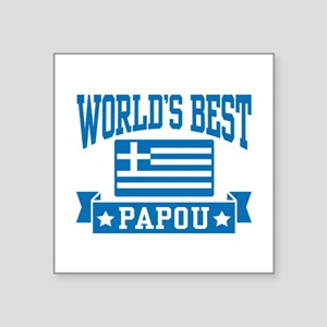 "World's Best Papou Square Sticker 3"" x 3"""