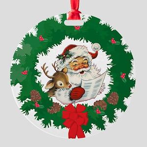 Retro Santa Round Ornament