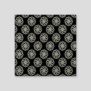 """Cream & Black Damask #38 Square Sticker 3"""" x 3"""""""