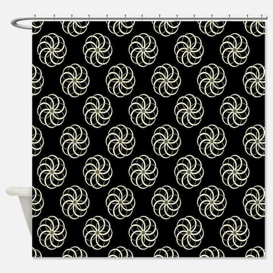 Cream & Black Damask #38 Shower Curtain
