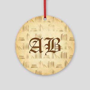 Vintage Style Custom Monogram Ornament (Round)
