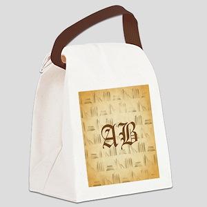 Vintage Style Custom Monogram Canvas Lunch Bag