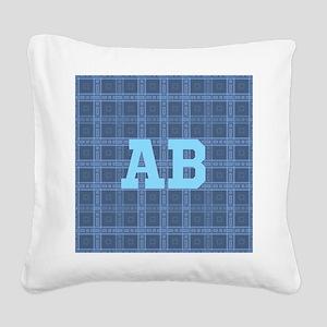 Blue Plaid Monogram Custom. Square Canvas Pillow