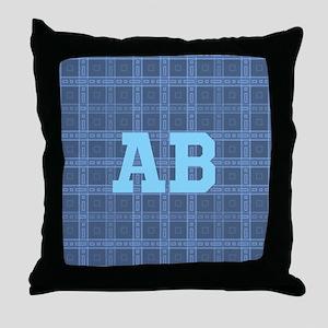 Blue Plaid Monogram Custom. Throw Pillow