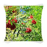 Rowan berries Woven Throw Pillow