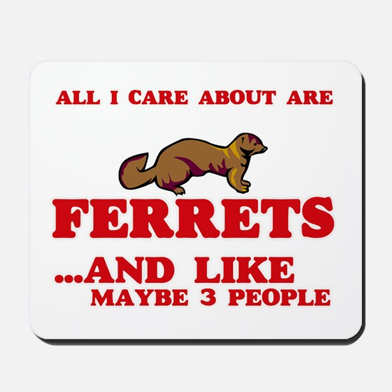 All I care about are Ferrets Mousepad
