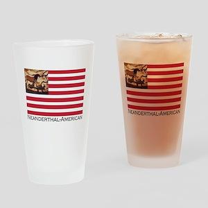 Neanderthal-American Flag Drinking Glass