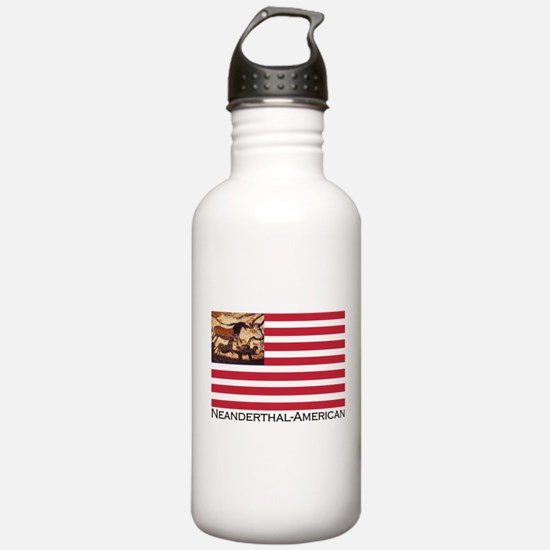 Neanderthal-American Flag Water Bottle