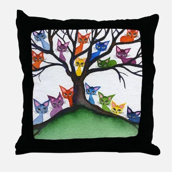 Vista Stray Cats in Tree Throw Pillow