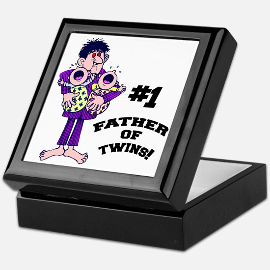 #1 Father Of Twins Keepsake Box