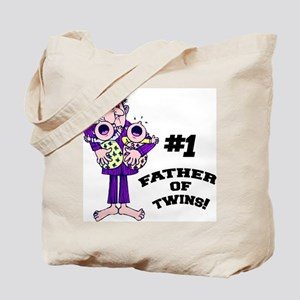 #1 Father Of Twins Tote Bag