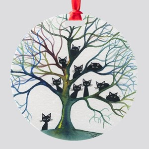 Culpeper Stray Cats in Tree Round Ornament