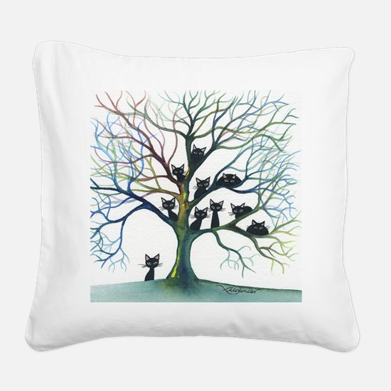 Culpeper Stray Cats in Tree Square Canvas Pillow