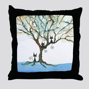 Voyageur Stray Cats in Tree Throw Pillow