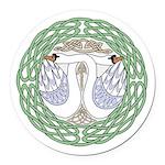 Celtic Swans Round Car Magnet