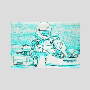 Kart Racer Teal and White Rectangle Magnet