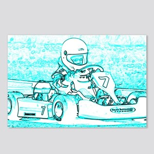 Kart Racer Teal and White Postcards (Package of 8)
