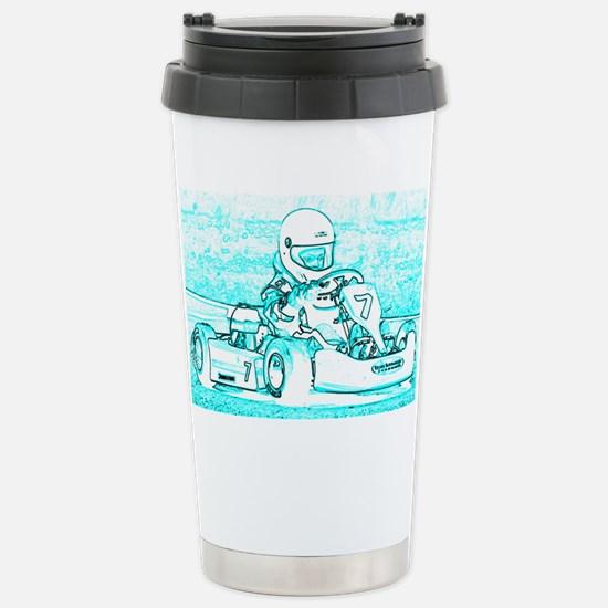 Kart Racer Teal and Whi Stainless Steel Travel Mug