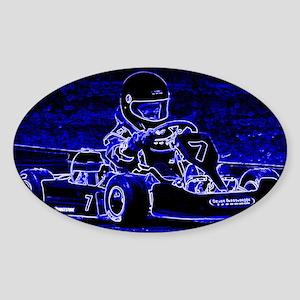 Kart Racer in Blue Sticker (Oval)