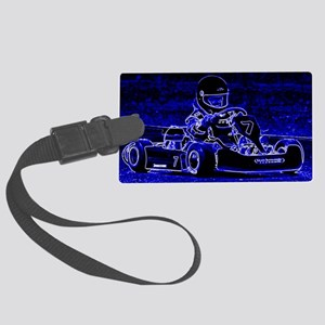 Kart Racer in Blue Large Luggage Tag