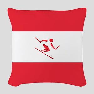 Team Alpine Skiing Austria Woven Throw Pillow