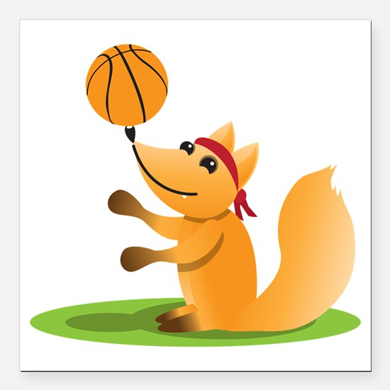 "Basketball playing fox Square Car Magnet 3"" x 3"""