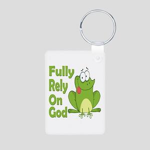 Fully Rely On God Aluminum Photo Keychain