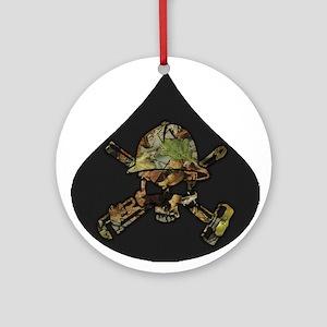 Camo Oilfield Skull in Oil Drop Ornament (Round)