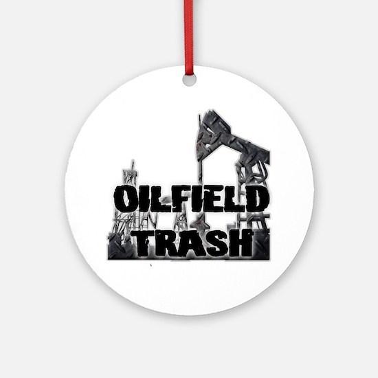 Oilfield Trash Diamond Plate Ornament (Round)