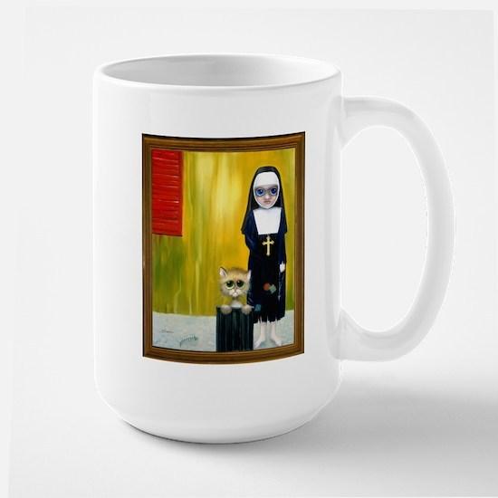 """""""The Crying Nun"""" with sad kitty Large Mug"""