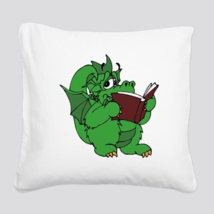 Dragon Reading Square Canvas Pillow