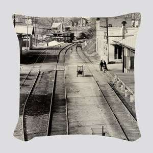 Railroad Station, Edwards, Mis Woven Throw Pillow