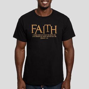Hebrew 11:1 Men's Fitted T-Shirt (dark)
