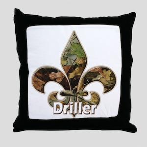 Camo Fleur des Lis Driller Throw Pillow