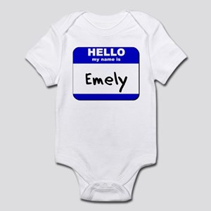 hello my name is emely  Infant Bodysuit
