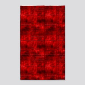 Red Metalic Squares 3'X5' Area Rug