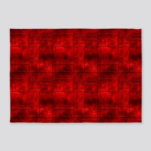 Red Metalic Squares 5'X7'area Rug