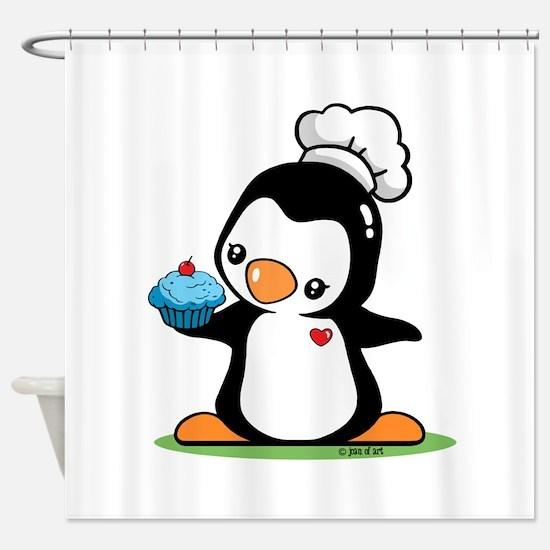 Cooking Penguin (c) Shower Curtain