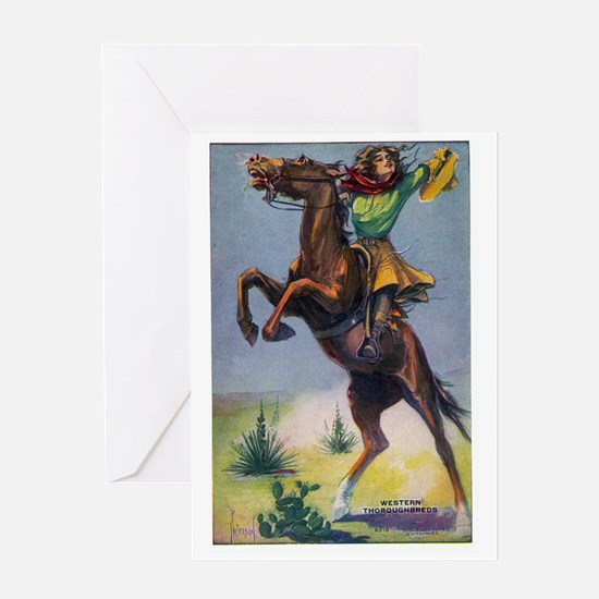 Cowgirl on Bucking Horse Greeting Card
