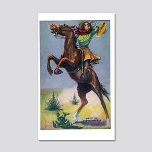 Cowgirl on Bucking Horse 20x12 Wall Decal